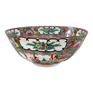 Large Rose Famille Medallion Porcelain Bowl For Sale