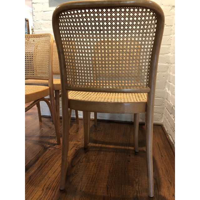 Set of 4 Vintage Josef Hoffmann side chairs. These are the Prague bentwood cane chairs made for the Thonet company. The...