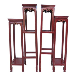 Chinese Tall Pedestal Tables - a Pair For Sale