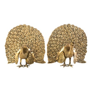 Vintage Mid Century Brass Peacock Bookends With Detail - a Pair For Sale