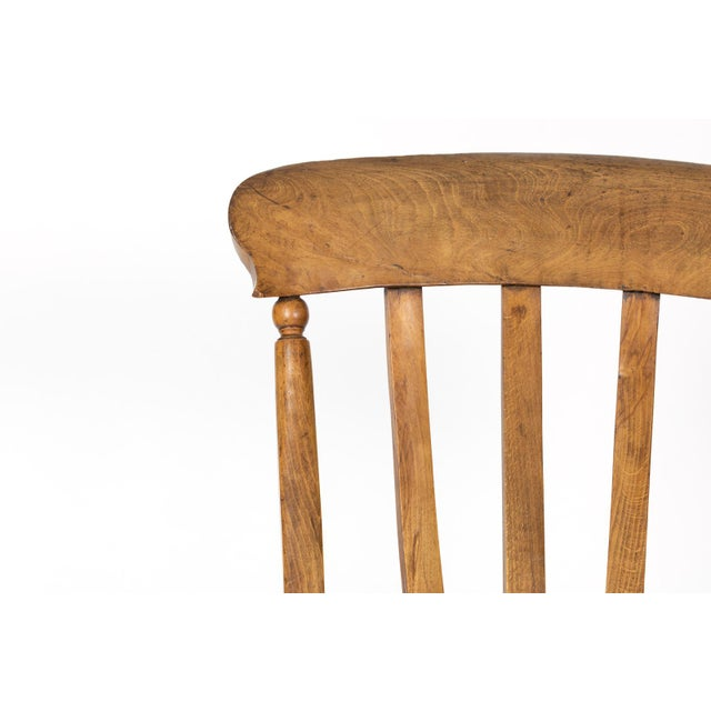 Wood English Elm Vertical Slat Back Armchair Circa 1890 With Turned Legs and H-Stretcher For Sale - Image 7 of 13