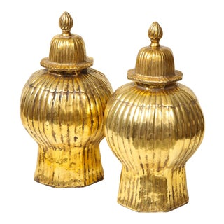Late 20th Century Gold Luster Ribbed Covered Ginger Jars - a Pair For Sale