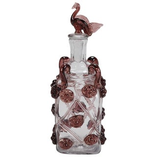 Mid Century Italian Glass Decanter With Bird Stopper For Sale