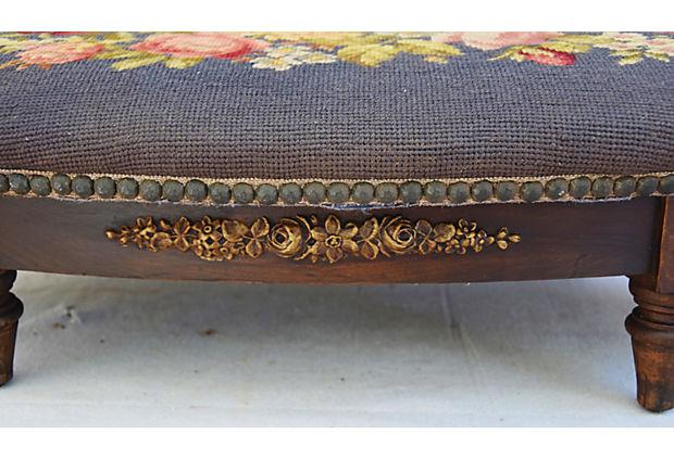 19th Century Antique French Needlepoint Footstool   Image 4 Of 11