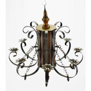 Vintage 8 Arm Wood and Iron Chandelier Preview