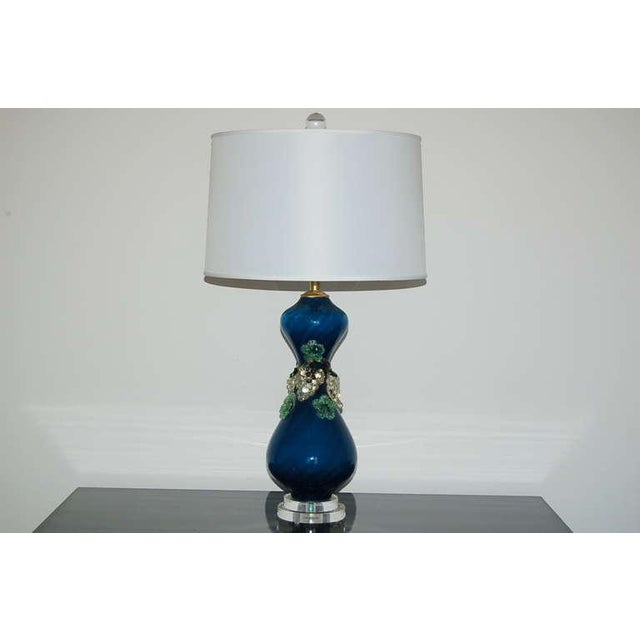 1950s Vintage Murano Glass Fruit Table Lamps Blue For Sale - Image 5 of 8