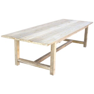 Country Distressed Pine Harvest Table For Sale