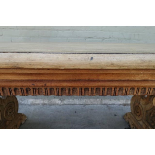 Tan Carved Italian Trestle Writing Table, Circa 1900 For Sale - Image 8 of 10