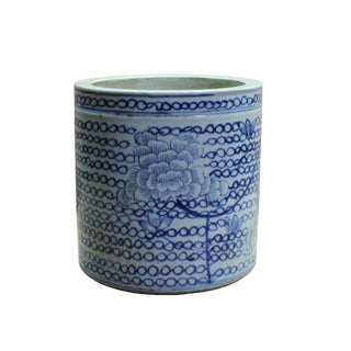 Chinese Blue & White Porcelain Floral Pattern Brush Holder Pot For Sale