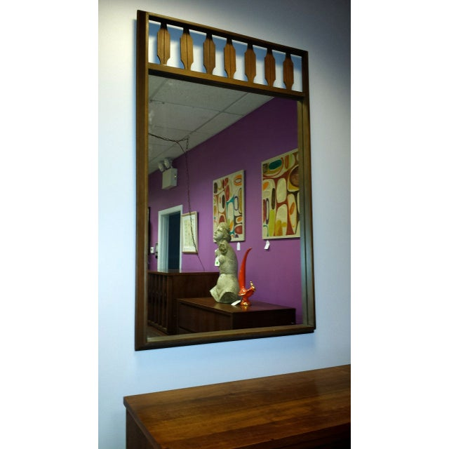 Decorative Mid-Century Walnut Frame Mirror - Image 2 of 6