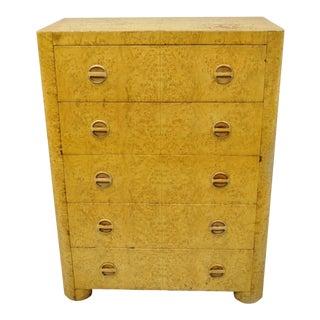 1940s Art Deco Birdseye Maple Tall Chest Dresser For Sale