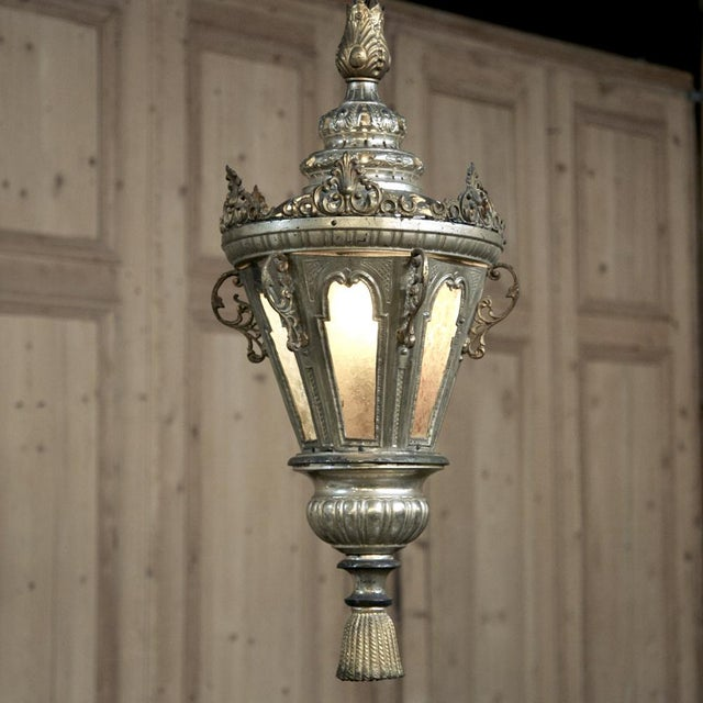 Silver 19th Century Venetian Silver Plated Brass Lantern Chandelier, Ca. 1850's For Sale - Image 8 of 8