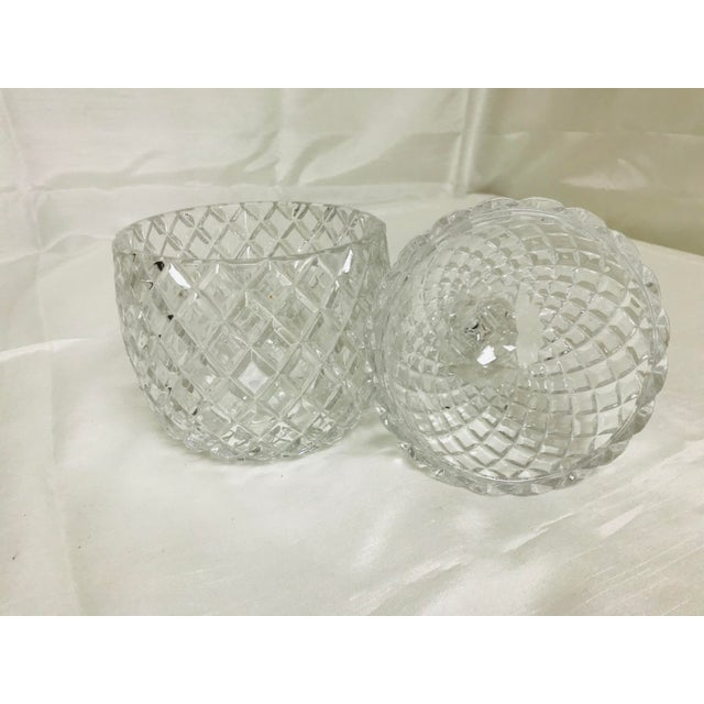 1970s Hollywood Regency Large Glass Pineapple With Lid For Sale - Image 4 of 7