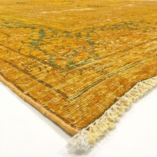 This vintage, over-dyed Persian rug was hand woven in Iran in the mid 1900's. The colors and pattern have been hand...