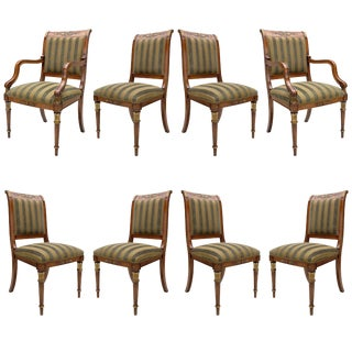 Provasi Set of Eight Dining Room Chairs with Green Stripes For Sale