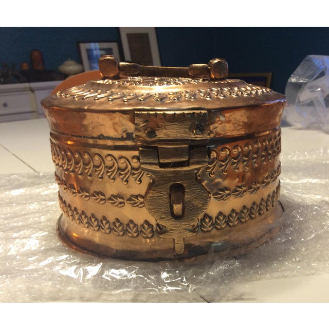 Antique Tinned Copper Repousse Box - Image 3 of 8