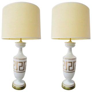 Opaline, Glass & Brass Gold Greek Meander Lamps