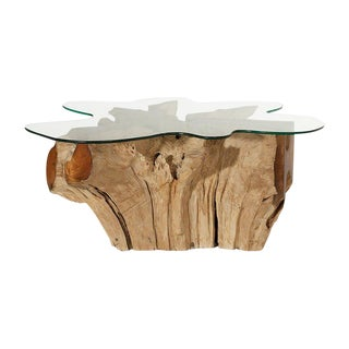 Weathered Teak Root Coffee Table For Sale