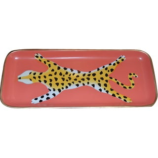 Orange Ceramic Leopard Trinket Tray