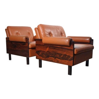 Percival Lafer Attributed Brazilian Rosewood & Leather Club Chairs – Set of 2 For Sale