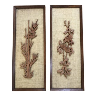 Vintage Asian-Inspired Raffia Hanging Wall Panels - a Pair