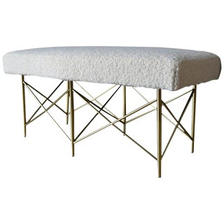 1970s Ivory Bouclé and Brass X-Base Ottoman Bench For Sale