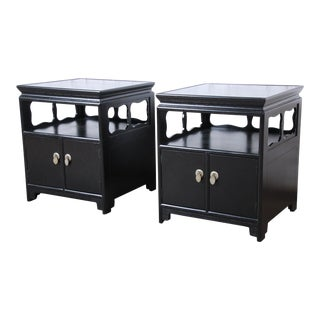 Michael Taylor for Baker Far East Collection Ebonized Nightstands, Newly Restored - a Pair For Sale