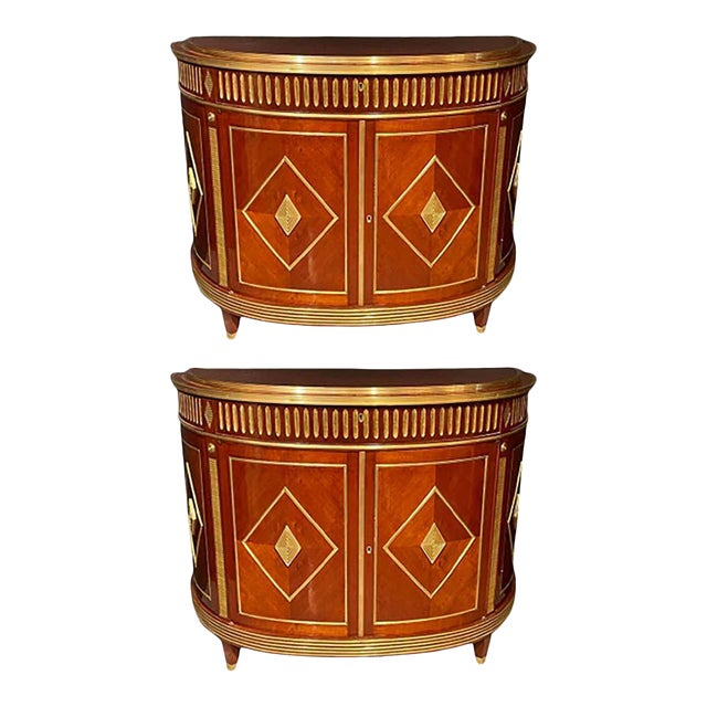 Pair of Mahogany Demilune Servers, Commodes Nightstands, Russian Neoclassical For Sale