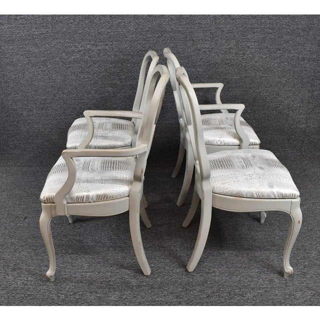 1950s Set of Four French Country Louis XV Style Dining Chairs For Sale - Image 5 of 11