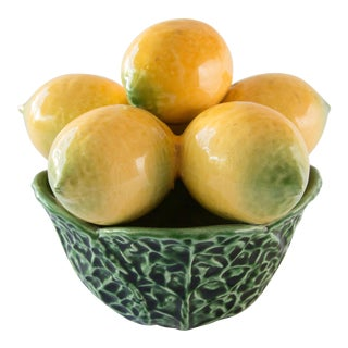 Vintage Majolica Bowl of Lemons