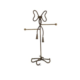 Gold Gilt Steel Rope and Tassel Themed Hand Towel/Jewelry Stand For Sale