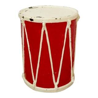 Circus or Display Fiberglass Drum Pedestal Plant Stand For Sale