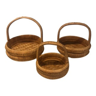Handwoven Nesting Wooden Baskets - Set of 3 For Sale