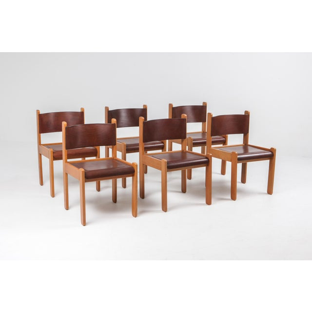 Scandinavian modern Oak and leather dining chairs, 1960s. We have a set of six chairs available. Mid-century modern...