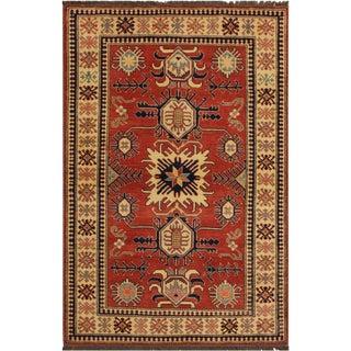Super Kazak Garish Karon Rust/Ivory Wool Rug - 4'0 X 6'2