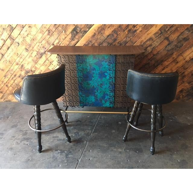 Mid Century Free Standing Bar with 2 Vinyl Stools - Image 7 of 11