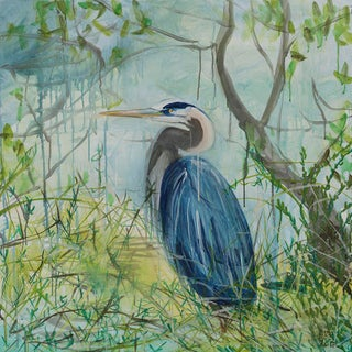 Acrylic Painting, Great Blue Heron For Sale