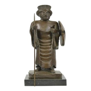 Cyrus the Great Persian King Kanaev Bronze Sculpture Marble Base Statue For Sale