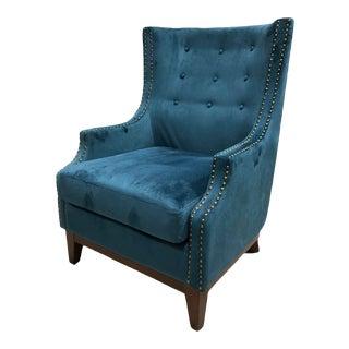 Bassett Barrel Back Velvet Chair For Sale