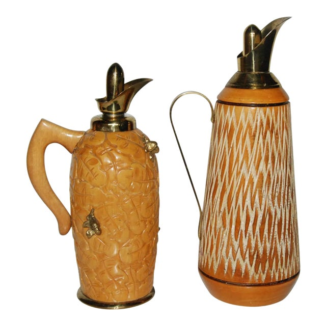 Aldo Tura Wood & Brass Decanters - A Pair For Sale