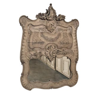 19th Century French Regence Carved Wood Mirror For Sale
