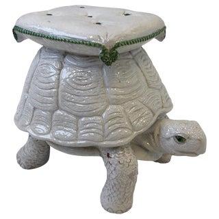 Italian White Ceramic Tortoise Garden Stool For Sale