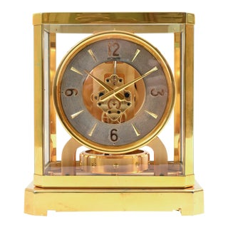 Case Glass Brass Jaeger Le Coultre Mantel Desk Clock For Sale
