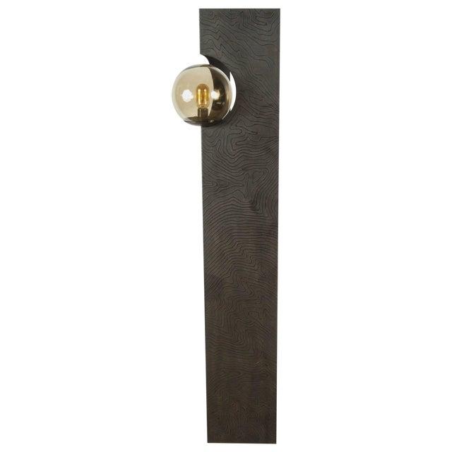 Paul Marra Textured Steel Solitaire Floor Lamp For Sale