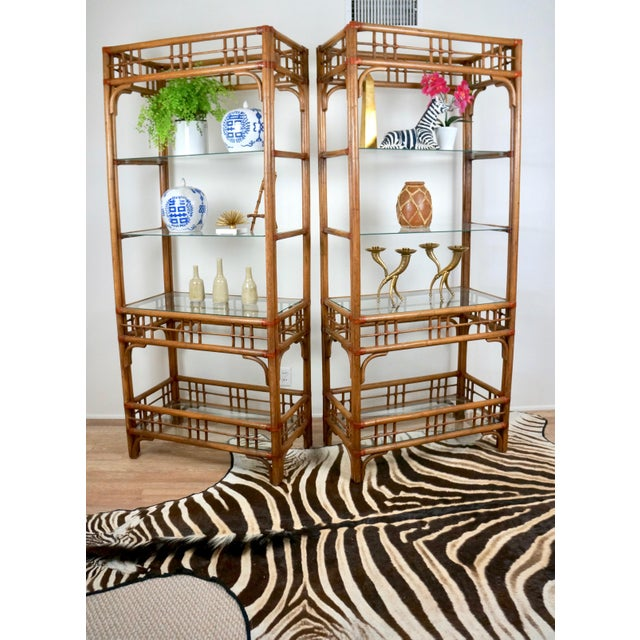 McGuire Style Rattan Etageres - A Pair For Sale - Image 9 of 11