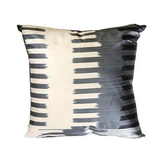 Modern Kim Salmela Grayscale Turkish Silk Ikat Square Pillow For Sale