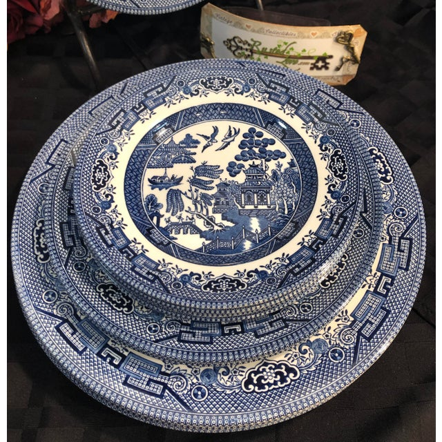 Ceramic Traditional English Churchill Blue Willow Dinner, Bread, Salad Plates, Soup, Cereal Bowls - 20 Pieces For Sale - Image 7 of 13