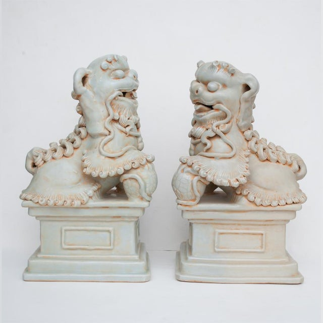 Green 20th Century Large Chinese Celadon Foo Lions - a Pair For Sale - Image 8 of 13