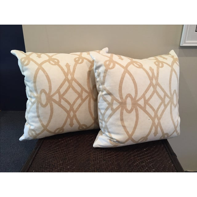 Tan and White Throw Pillows - A Pair - Image 2 of 5