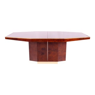 1960s Italian Mid Century Hexagonal Pedestal Base Dining Table For Sale